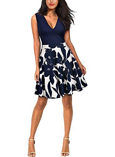 MIUSOL Damen Elegant Kleid V-Vusschnitt Armellos Blume Patterned Mini Casual Kleid Navy Blau Gr.XL -