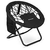 Navaris Bungee Stuhl Campingstuhl rund - Bungee Chair Klappstuhl faltbar mit Netz aus Seilen und...