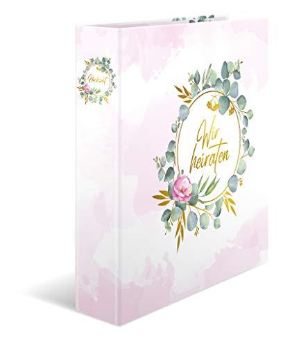 """HERMA 15421 Hochzeitsordner DIN A4 """"Wir heiraten"""", 6 cm breit aus stabilem Karton mit goldener Folienveredelung und Innendruck, inkl. 10-teiligem Register, 1 Hochzeitsplaner"""