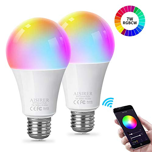 Smart Lampe WLAN Glühbirnen Wifi Led RGBW Light Bulb E27 Birne Kompatibel mit Amazon Alexa Echo Google Home Kein Hub Erforderlich Dimmbares Mehreren Farben 580LM 7W AISIRER 2 Stück
