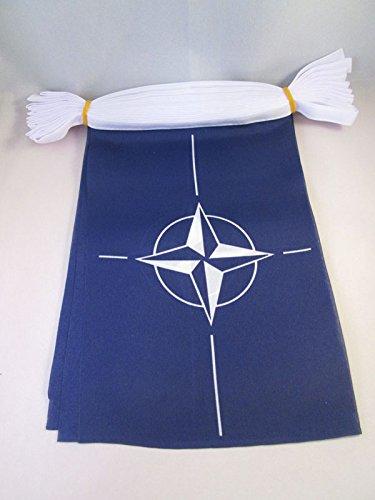 Foto de AZ FLAG Guirnalda 12 Metros 20 Banderas de la OTAN 45x30cm - Bandera DE LA OTAN 30 x 45 cm - BANDERINES