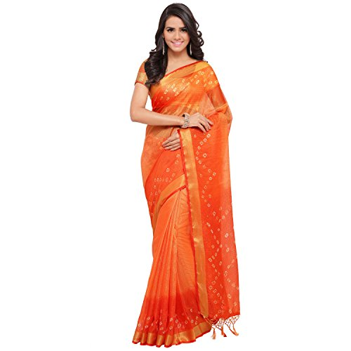 Rajnandini Women's Kota Silk Cotton Bandhani Printed Saree(JOPLSRS1024L_Orange_Free Size)