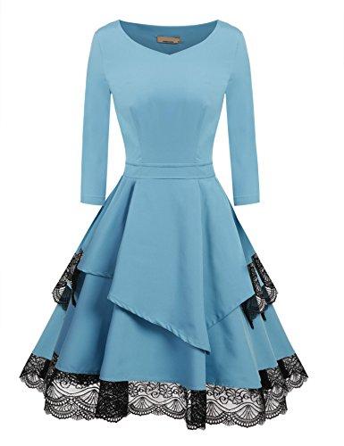 ZEARO Elegant Damen Partykleider Abendkleider Cocktailkleider Schlank Spitze Saum Patchwork Großer Swing Kleider Blau