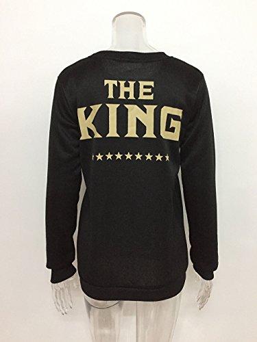 COCO clothing Coppia Felpe Donna Uomo King e Queen Maglia a Manica Lunga Casual T-shirt Tops Autunno Nero Camicetta Camicie KING