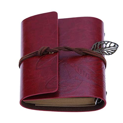 ZLJHH Foglie Pu Copertura In Pelle Notebook Retro Blank Diario Note Book Notepad Traveler Journal Planner Agenda Sketchbook,Wine Red