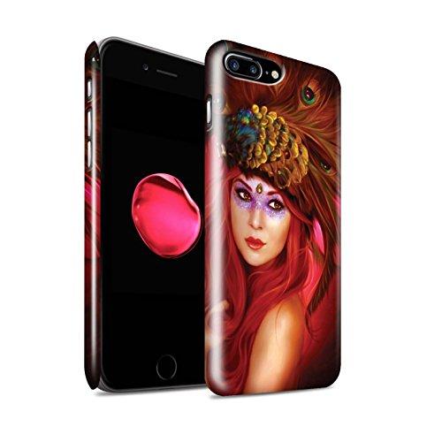 Officiel Elena Dudina Coque / Clipser Brillant Etui pour Apple iPhone 8 Plus / Oiseaux Libres/Vitrail Design / Les Oiseaux Collection Beau Paon