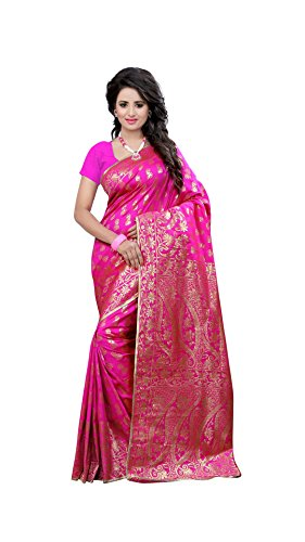 The Fashion Outlets Women's Cotton Silk Zari Jacquard Sarees(Free Size_Pink)