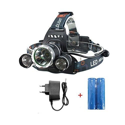 OUTERDO 5000Lumen T6 +2R5 LED Stirnlampe 4 Mode LED Kopflampe Head lamp+ 2 x 18650 Akku + AC Ladegerät Für Outdoor/Sports/Camping/Biking/Jagd/Fischerei