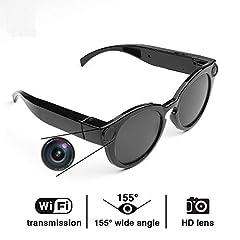 Idea Regalo - Wifi Smart Camera Occhiali Spy Camera HD 1080P wifi record Camera per Aula/Riunione/Viaggio Adatto per Telefono/iOS/Android