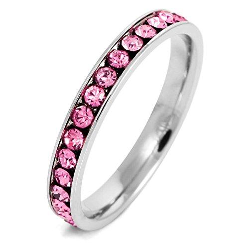 MunkiMix Edelstahl Ewigkeit Ewig Ring Band Zirkonia Rosa Pink Hochzeit Größe 52 (16.6) Damen (Damen Hochzeit Bands Pink)