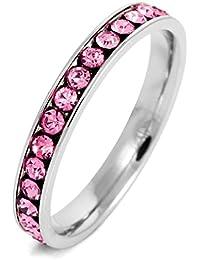 MunkiMix Acero Inoxidable Eternidad Eterno Anillo Ring Banda Venda Cz Cubic Zirconia Circonita Rosa Pink Alianzas