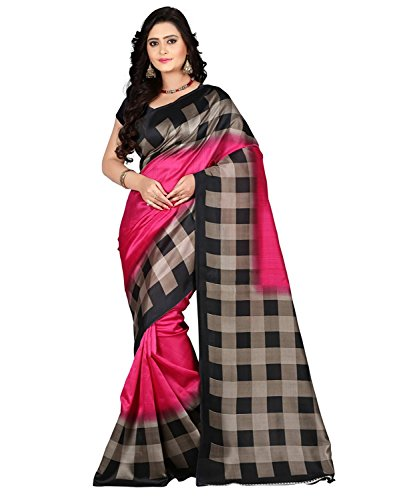 J B Fashion Silk Saree With Blouse Piece(H-Saree For Women-Pink Checks_Pink Free...