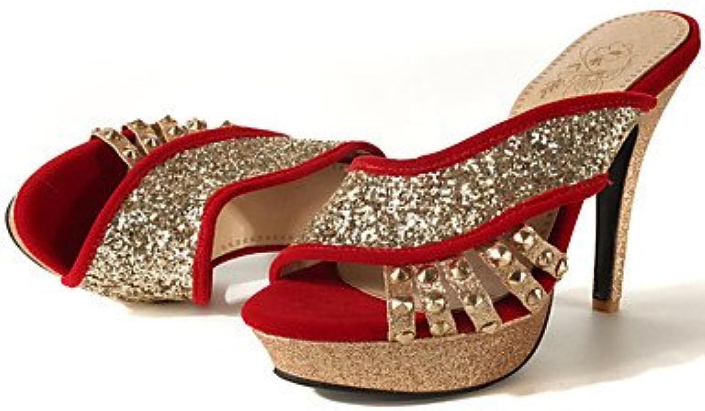 YFF Donna Sandali Sandali Sandali vello Glitter Stiletto Heel Sequin Blu Rosso nero,rosso,US8   EU39   UK6   CN39 | Reputazione affidabile  | Scolaro/Signora Scarpa  7ee8ee