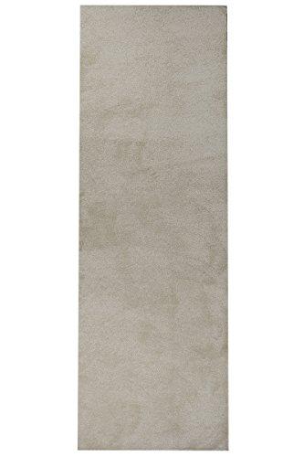 Luxus Hochflor Teppich Prestige Läufer - schadstoffgeprüft pflegeleicht antistatisch robust und strapazierfähig   schmutzabweisend und dekorativ   Wohnzimmer Schlafzimmer Büro Flur Diele, Farbe:Beige, Größe:80 x 600 cm