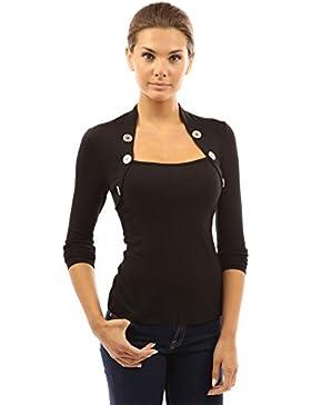 PattyBoutik Mujer botón bolero de manga larga blusa