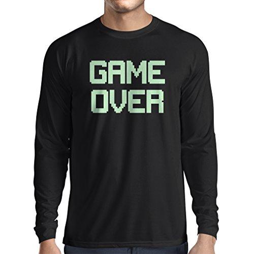 T-Shirt mit langen Ärmeln Spiel über lustige Gamergeschenke (XX-Large Schwarz Fluoreszierend) (Do It Yourself Kostüme Für Babys)