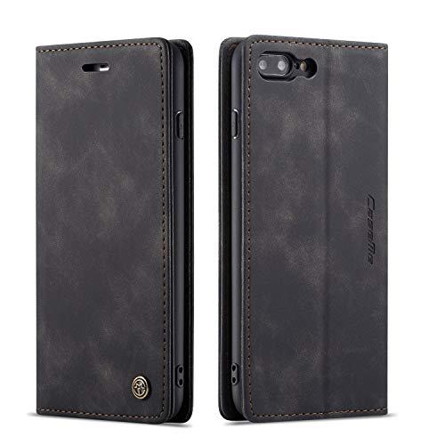QLTYPRI iPhone 7 8 Hülle, Vintage Dünne Handyhülle mit Kartenfach Geld Slot Ständer PU Ledertasche TPU Bumper Wallet Case Flip Schutzhülle für iPhone 7 8 - Schwarz Schutzhülle Flip Case