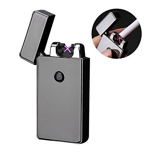 USB Feuerzeug, Elektro-Feuerzeug Dual Lichtbogen USB Aufladbar Winddichte Flammenlose Elektronische Feuerzeug für Küche, Grill, Kerzen und Zigaretten