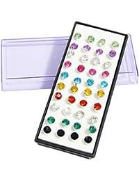 Set de 40 (20 pares) de Pendientes de Aros de Diamantes de Imitación en Cristal de 5mm Gemas Multicolores de Kurtzy TM
