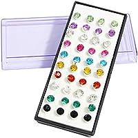Set di 40 (20 Paia) di orecchini a bottone multicolore con gemma di diamante sintetico by Kurtzy TM - Set Orecchini