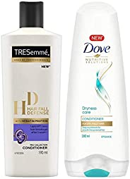 TRESemme Hair Fall Defense Conditioner, 190ml & Dove Dryness Care Conditioner, 180ml