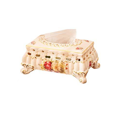 HYBKY Tissue Box Cover Keramik Tissue Box Serviette Tissue Box, Schlafzimmer Home Storage Box Taschentuchhalter (Size : 27.5×15.5cm×12cm) (Keramik Tissue Box Cover)