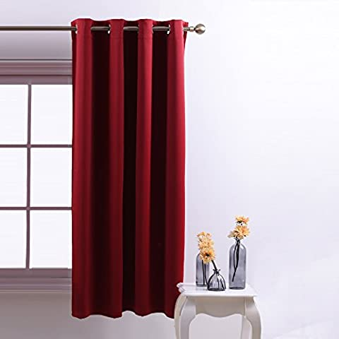 Eyelet Blackout Curtains Nursery Décor - PONYDANCE Top Ring Window Treatments Thermal Insulated Drapery Blackout Curtain Panel for Bedroom,Nursery Décor, One Piece, W 52 In x L 63 In, Red