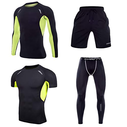 YiiJee Herren Sport Anzug Schnell Trocken Joggen Kleidung Strumpfhosen Base Layer Tops Jogging Hose Als Bild13 L - Base Layer Fleece Top