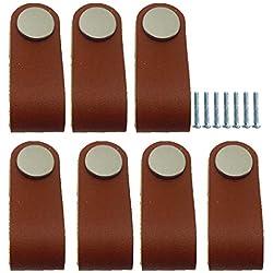 Sharplace 7x Tiradores Cajones Manija de Cremallera Cabinete Puerta Perilla Mango de Cuero Artificial Marrón
