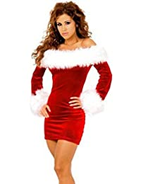 Wuiyepo femmes Red Christmas Off Robe sexy manches longues