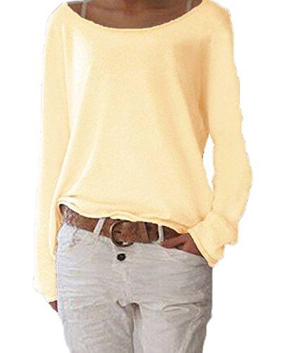 Minetom Donne Moda Camicia A Maniche Lunghe O-Collo Camicetta Casuale Cime Di Colore Solido Giallo 40