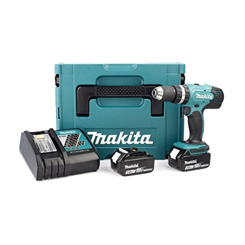 Makita DHP453RFJ Visseuse-Perceuse à Percussion avec 2 Batteries 18 V 3,0 Ah