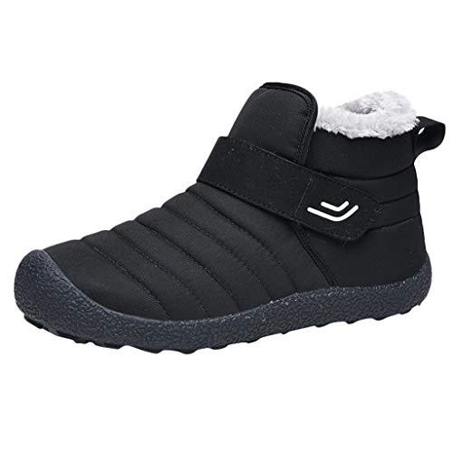 KUDICO Herren Damen Stiefeletten Schlupfstiefel Warm Gefüttert Flache Schuhe Winterstiefel Wandern Kurzer Boots Schneeschuhe Stiefel(44 EU, Schwarz)