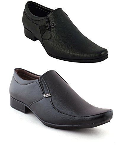 REDFOOT Men's Combo Leather Look Pack of 2 Formal Shoes For Men Leather Look Shoes F01-F43 (43)