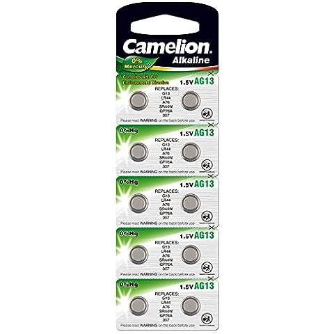 Camelion pilas botón alcalina AG13/LR44//357/SR44W/GP76A/G13 1,5 V 0% mercurio/HG gratuito 10er