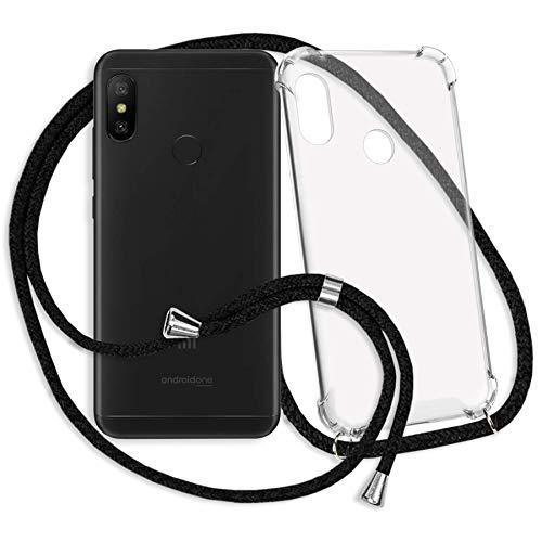 mtb more energy® Handykette für Xiaomi Mi A2 Lite/Redmi 6 Pro (5.84'') - schwarz - Smartphone Hülle zum Umhängen - Anti Shock Strong TPU Case