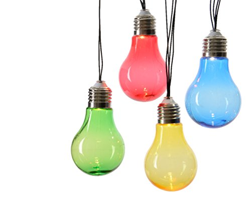 LED Solar Lichterkette 10 tlg. Glühlampe bunt Party Garten Glühbirne