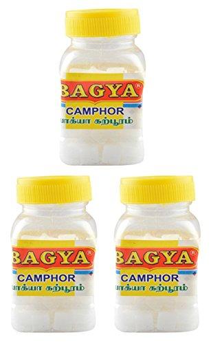 Bagya's Camphor (1.5 cm x 1 cm x 0.5 cm, White, 3 Bottles, 80 Pieces each)