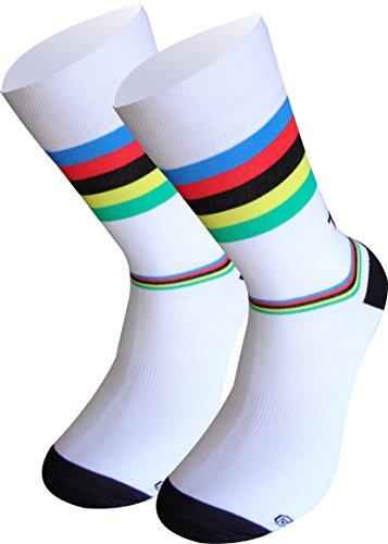 TKS Socken Lagos Weltmeister, MID HIGH Design. Perfekt für alle Arten von Sport. Laufen, Triathlon, Radfahren, Wandern, Crossfit und TRX. Unisex Weltmeister-Weiss. Größe M (40-42) (6.5-8UK)