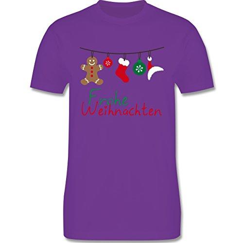 Weihnachten & Silvester - Frohe Weihnachten Girlande - Herren Premium T-Shirt Lila