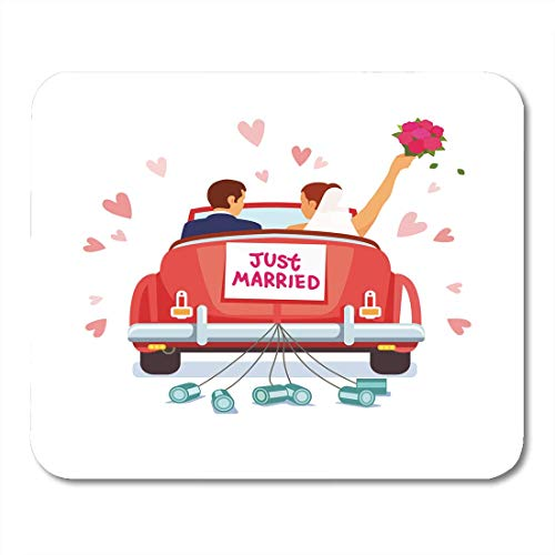 """AOHOT Mauspads Newlywed Couple is Driving Vintage Convertible Car for Their Honeymoon Just Married Sign and Cans Mouse Pad Mats 9.5"""" x 7.9"""" for Notebooks,Desktop Computers Office Supplies"""