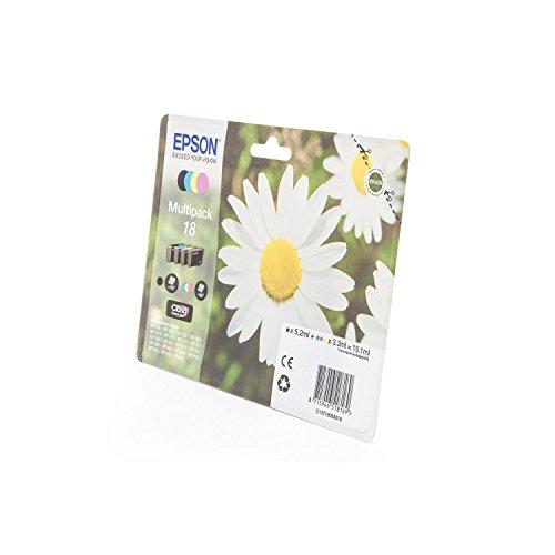 Original Tinte passend für Epson Expression Home XP-300 Series Epson 18 C13T18064010-4x Premium Drucker-Patrone - Schwarz, Cyan, Magenta, Gelb - 1x175 & 3x180 Seiten (Schwarz 300 Tinte)