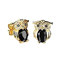 Ilove European Gold Plated Earrings Stud Earrings Cubic Zirconia Black Gold Cute Owl Shiny Charm Charm Silver