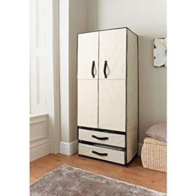 Deluxe Double Canvas Wardrobe With Doors Grey - low-cost UK light shop.