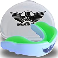 (Adult, White & Green) - UK Warrior Gum Shield Mouth Guard Gum Guard, Ideal For Contact Sports, Martial Arts, Karate, MMA, Boxing, Hockey, Football, Carry Case and Instructions For Boil & Bite Included