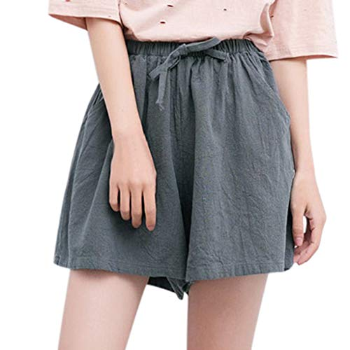 XZDCDJ Shorts Damen Hose kurzen Sommer high Waist elegant Taschen hohe Baumwolle Leinen Solide Lose Hot Pants Taschen Casual (Grau,L) -