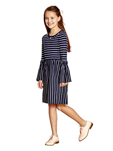 Yumi Girl Striped Knit Dress with Embellishment