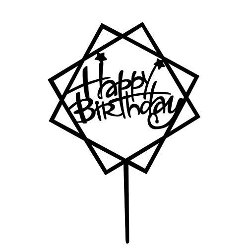 Yangge Yujum Quadrat Rund Alles Gute zum Geburtstag Brief-Kuchen-Deckel Acryl DIY Kuchen-Kuchen-Smash-Kerze-Partei-Handmade-Stick