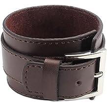 Pulsera ancha de cuero - TOOGOO(R) pulsera de joyeria de hombres y mujeres, brazalete ancho de cuero, hebilla, marron