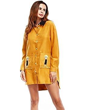 Unión Invierno verano vestido vestido corto en el bolsillo delantero de la camisa larga